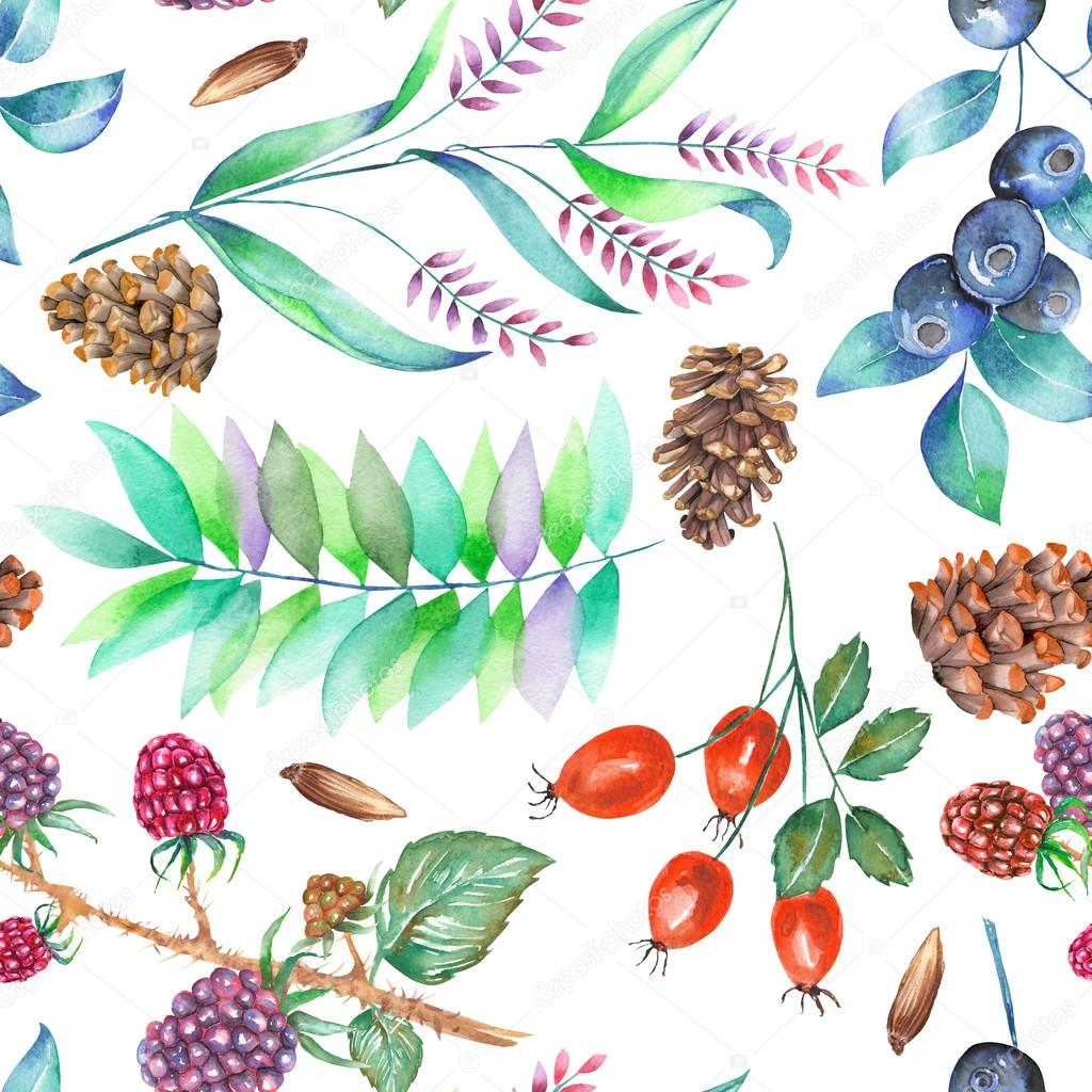A seamless pattern with a floral ornament of the watercolor forest elements: berries, cones, leaves and branches
