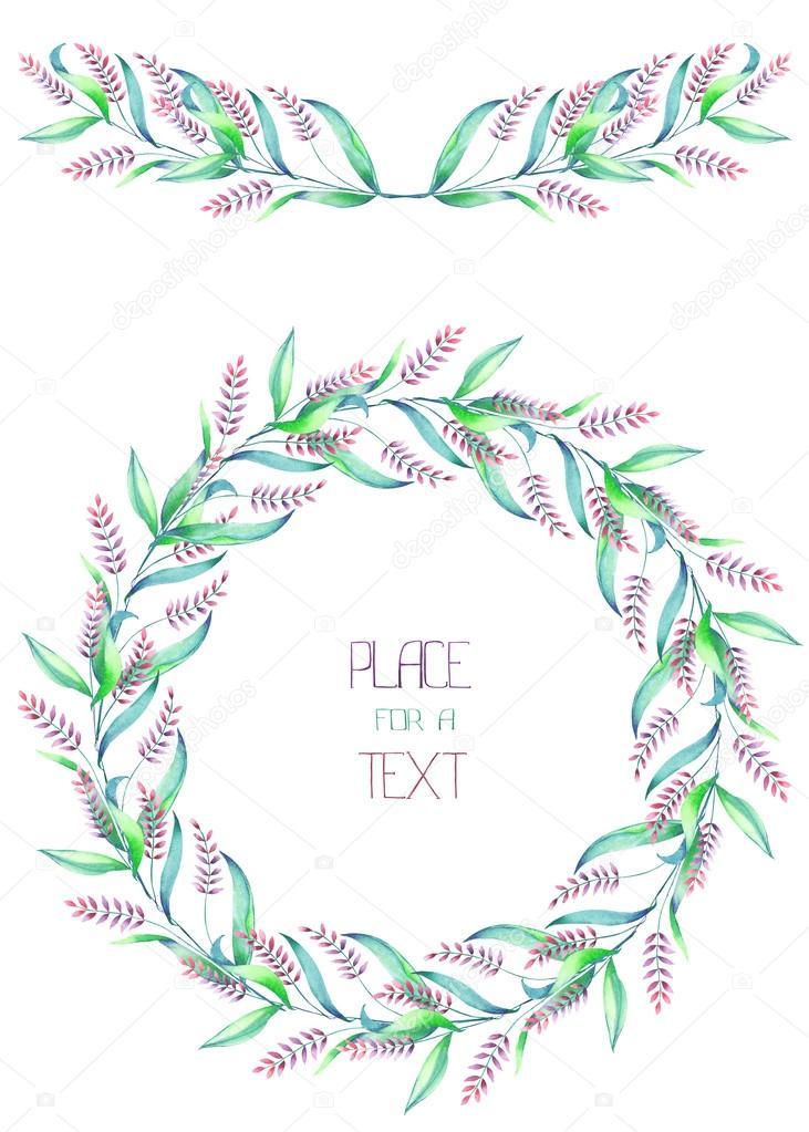 ... Der Aquarell Ährchen Für Einen Text Auf Weißem Hintergrund, Eine  Grußkarte, Eine Dekoration Postkarte Oder Hochzeitseinladung U2014 Foto Von  NastyaSklyarova