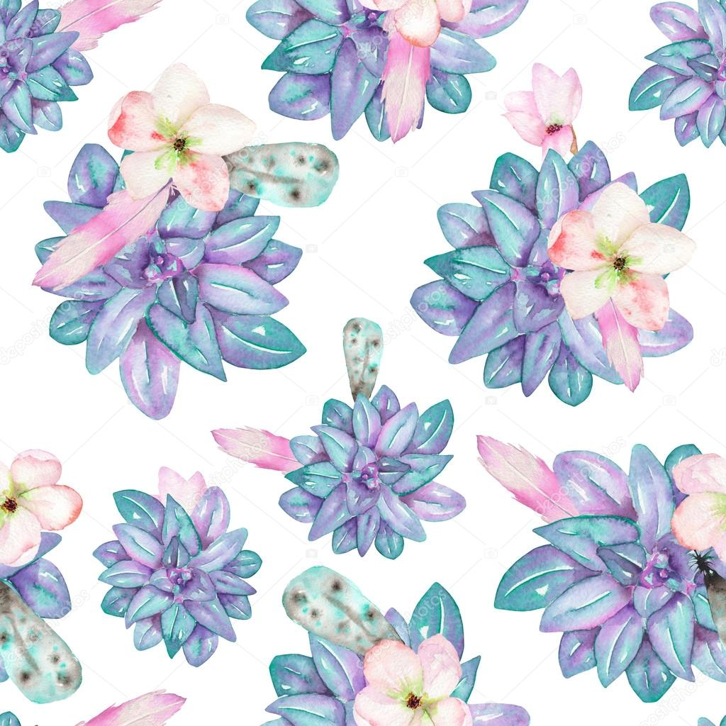 A seamless pattern with the watercolor flowers, feathers and succulents