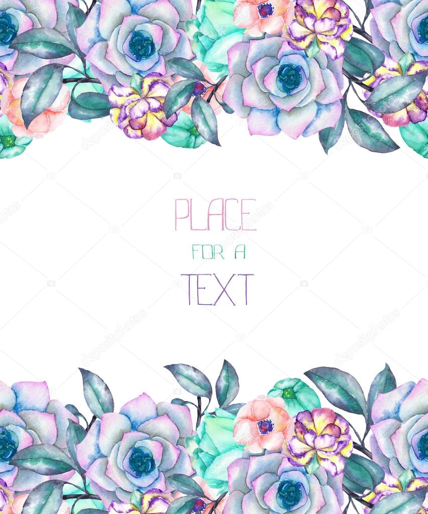 A template of a postcard, decorative place (banner) with an ornament of the watercolor succulents, flowers and leaves, wedding invitation