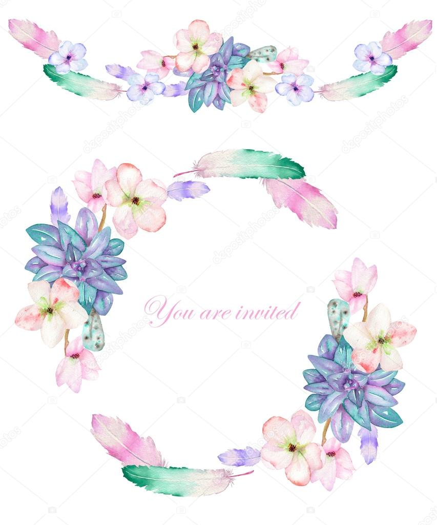 A circle frame, wreath and frame border (garland) with the watercolor flowers, feathers and succulents, wedding invitation