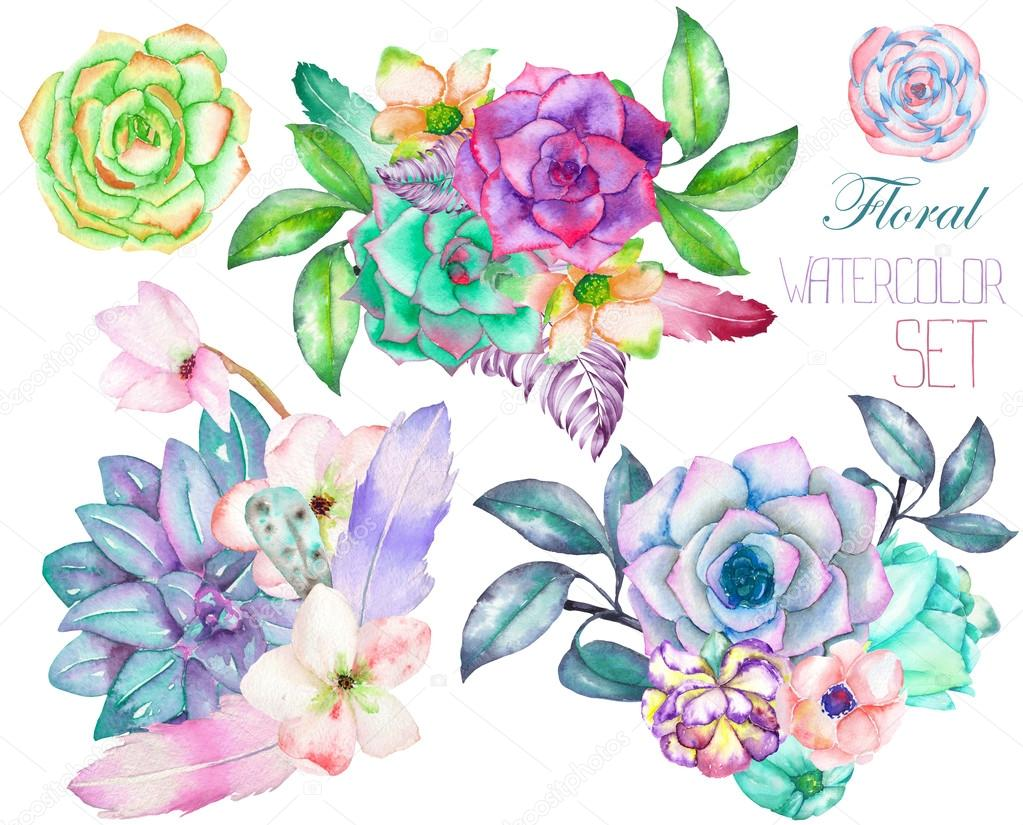 A decorative bouquets with the watercolor floral elements: succulents, flowers, leaves and branches