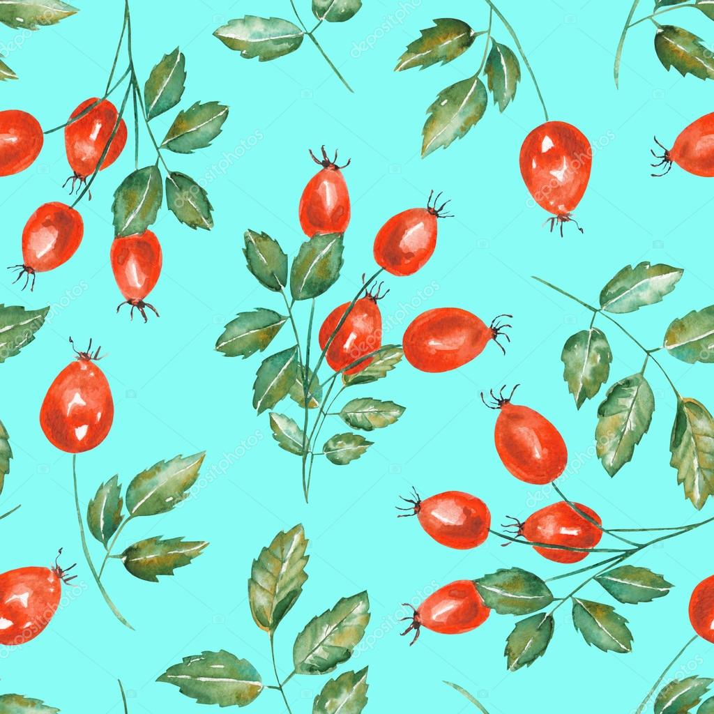A seamless pattern with the watercolor rosehip branches