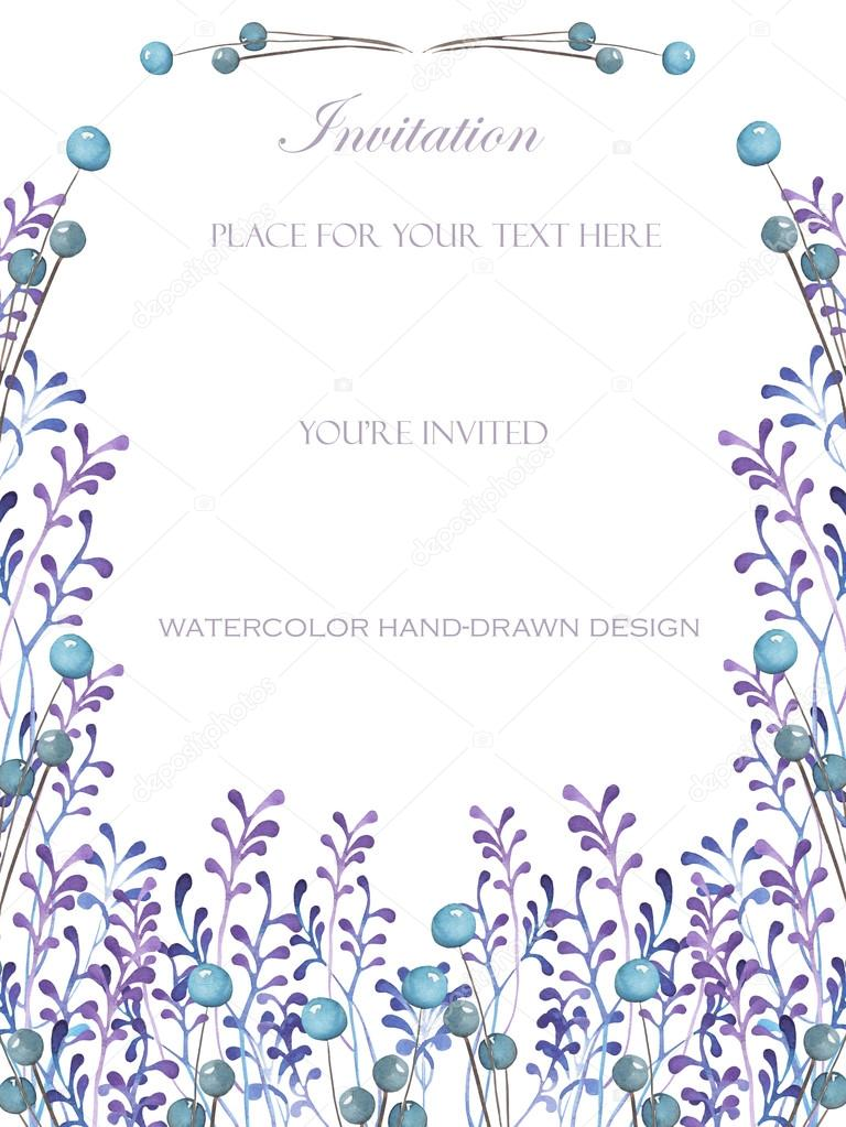 A frame template of a postcard with the watercolor blue berries and a frame template of a postcard for a text with the watercolor blue berries and violet branches hand drawn on a white background a greeting card stopboris Images