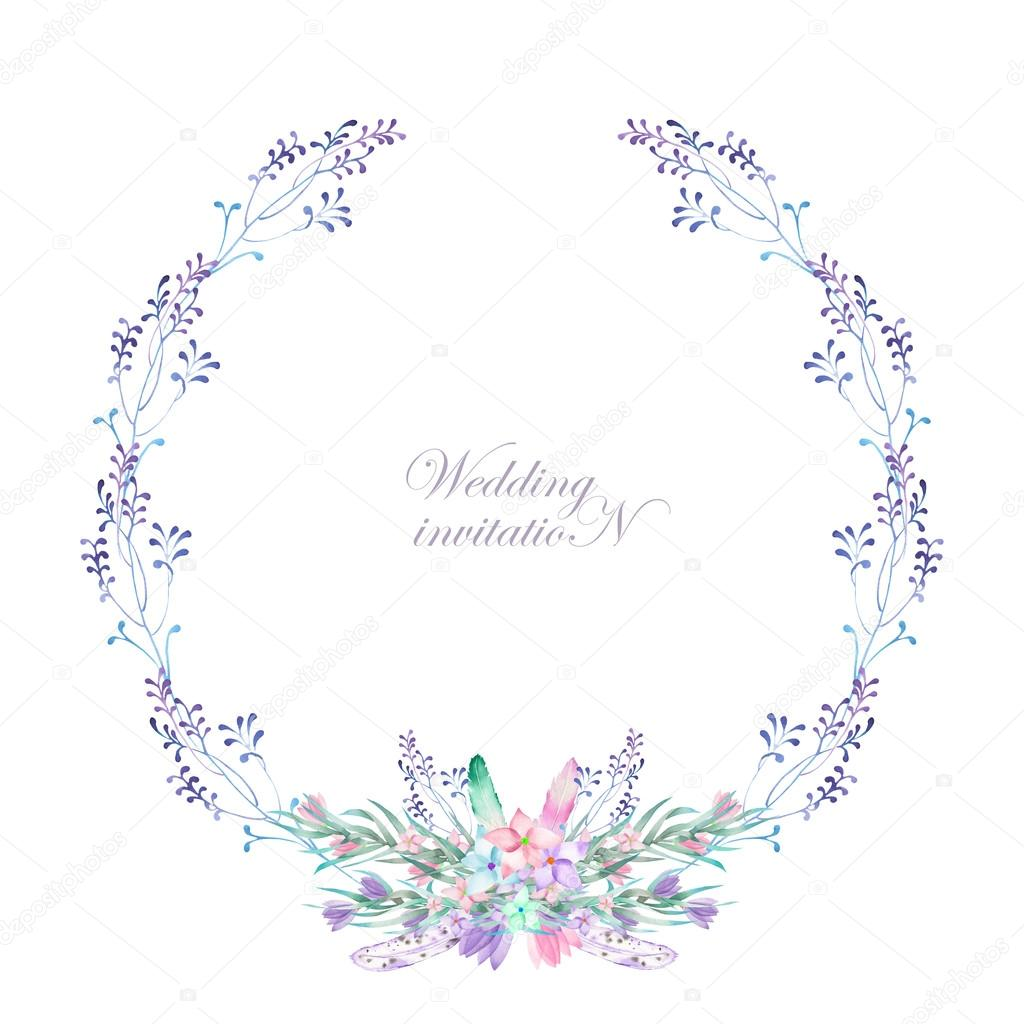 A Circle Frame Wreath Border With The Watercolor Flowers Feathers And Branches