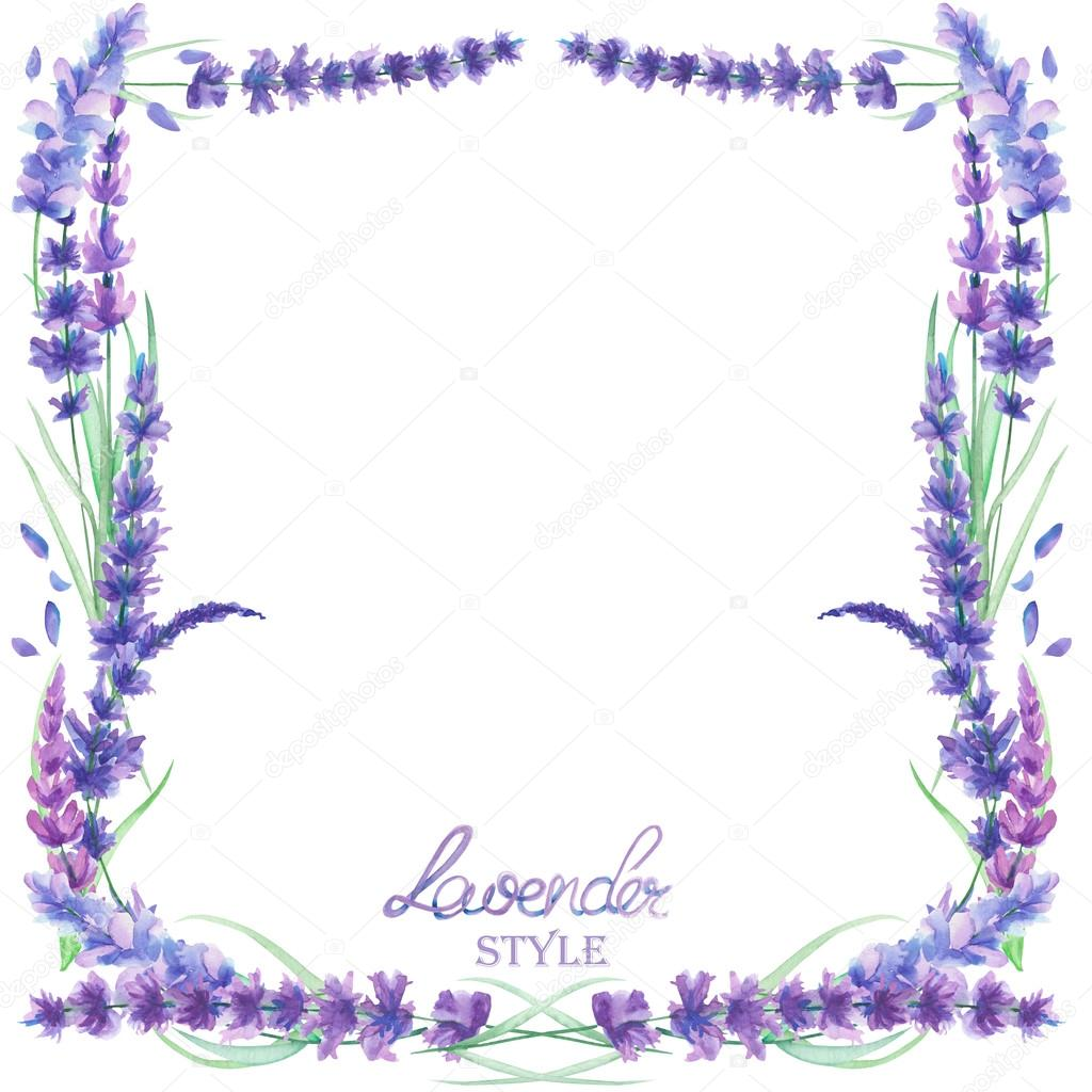 A Card Template Frame Border With The Watercolor Lavender
