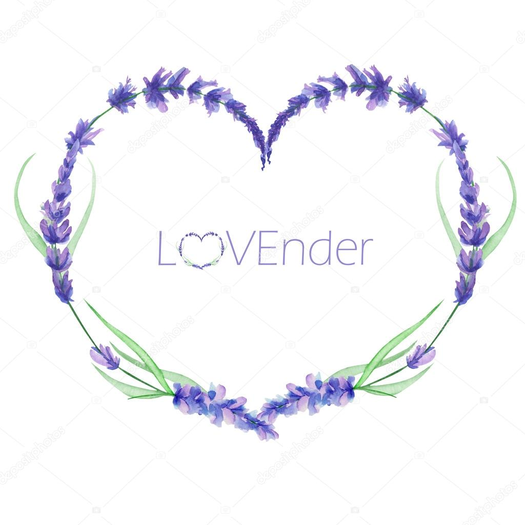 A heart frame, wreath, frame border with the watercolor lavender ...