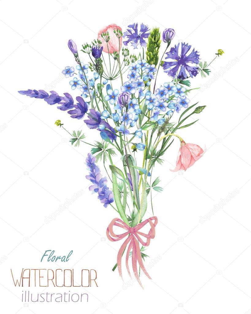美しい水彩ブルーフラワー Myosotisヤグルマギクラベンダー花