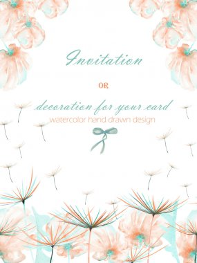 Template postcard with the watercolor pink and mint air flowers and dandelion fuzzies, wedding design, greeting card or invitation