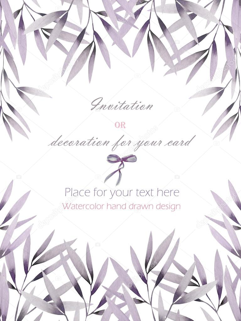 frame border template postcard with the tender pink and purple