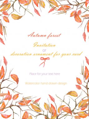 Background, template postcard with a floral ornament of the watercolor red autumn leaves on the branches on a white background stock vector