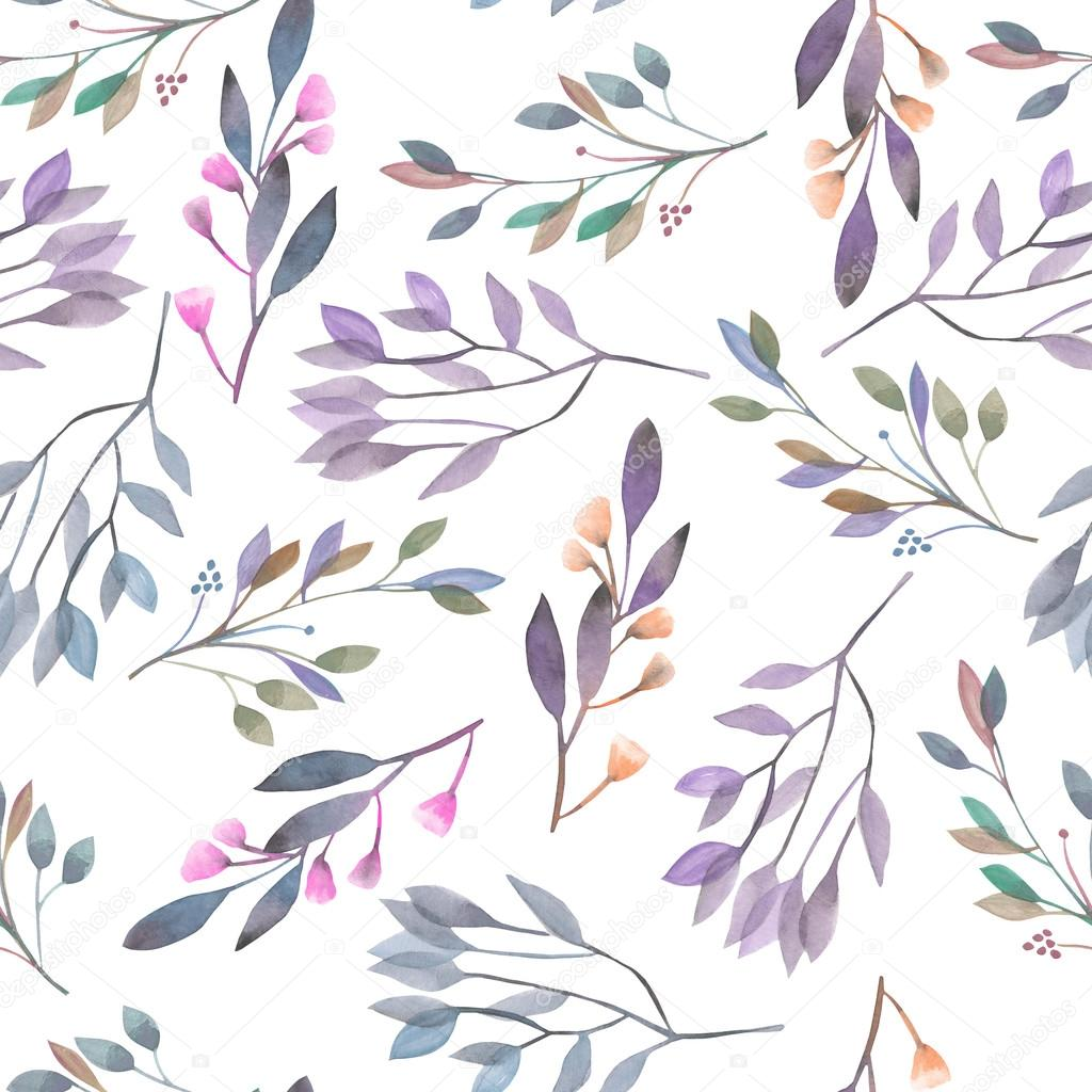 Seamless pattern with watercolor leaves and branches on a white background, hand drawn in a pastel