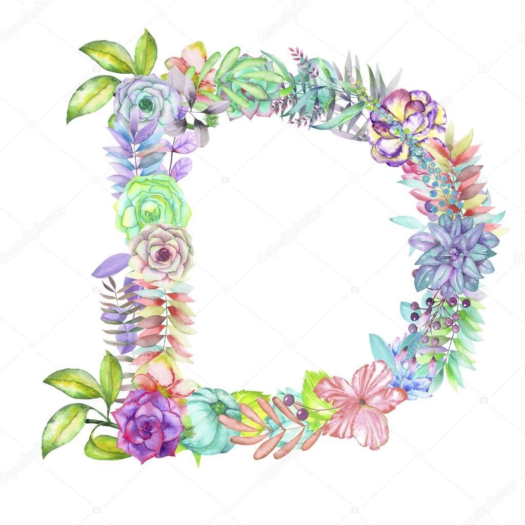 Letra D De Flores Acuarela Dibujado Sobre Un Fondo Blanco