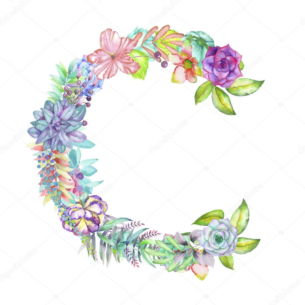 capital letter c of watercolor flowers isolated hand drawn on a white background wedding