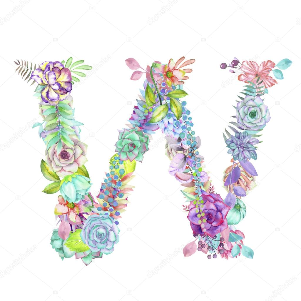 Capital Letter W Of Watercolor Flowers  Isolated Hand