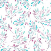 Seamless pattern with the watercolor pink, mint and purple leaves and branches on a white background