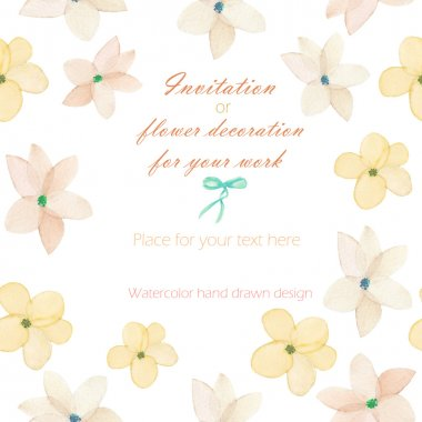 Background, template postcard with the tender pink spring flowers, hand drawn in a watercolor on a white background, background for your card and work stock vector