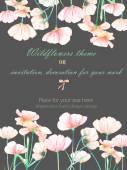Háttér, a meghívó, a sablon képeslapot a pályázati rózsaszín cosmos virágok, kézzel rajzolt egy sötét háttér