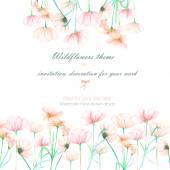 Háttér, a meghívó, a sablon képeslapot a pályázati rózsaszín cosmos virágok, kézzel rajzolt egy fehér háttér