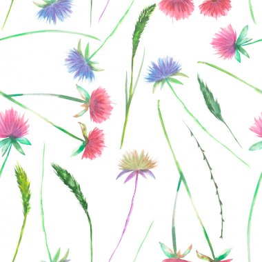 Seamless floral pattern with the watercolor clover flower and grass