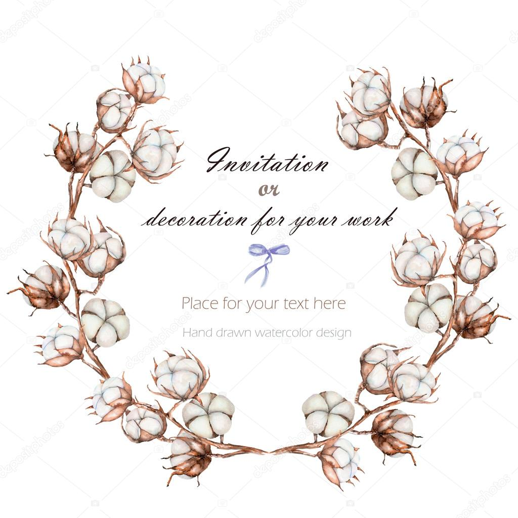 Branche Fleur De Coton wreath, circle frame with the cotton flowers branches, hand
