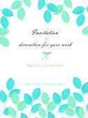 Background, template postcard with the watercolor blue and mint leaves, hand drawn on a white background