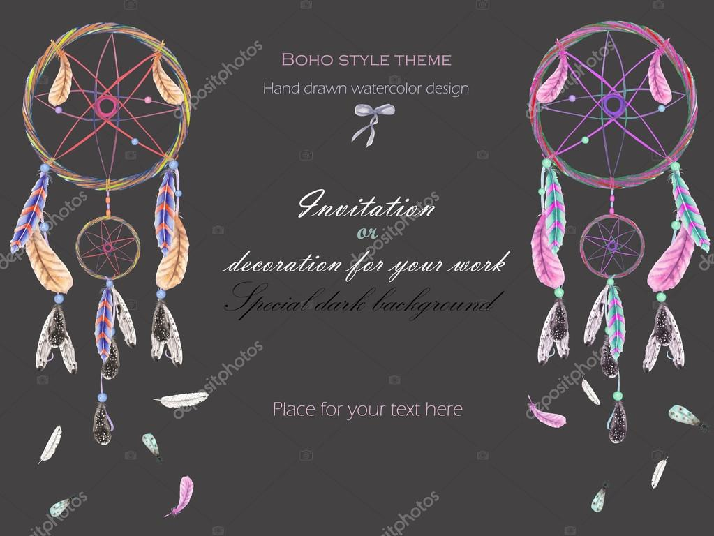 How Do Dream Catchers Work Extraordinary Background Template Postcard With The Watercolor Dreamcatchers And