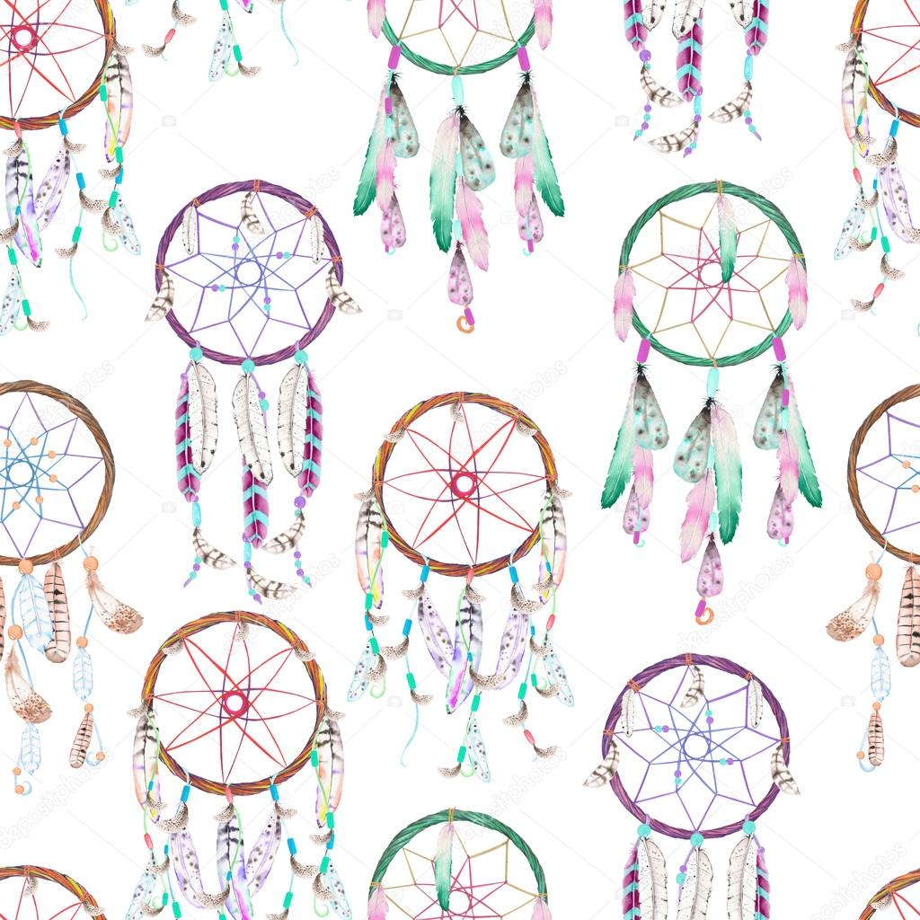 Seamless pattern with watercolor dreamcatchers, hand drawn on a white background — Stock Photo