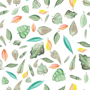 Seamless floral pattern with watercolor bright colorful leaves