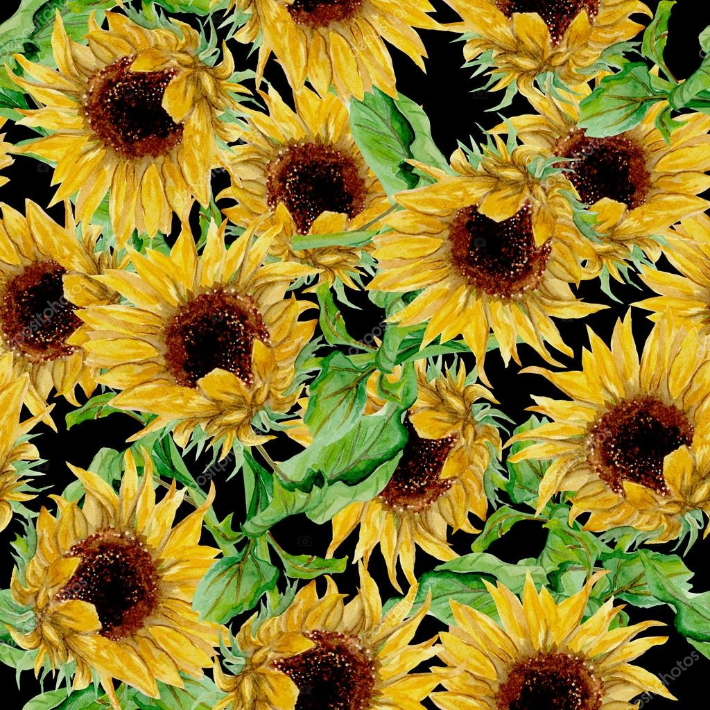 depositphotos 84999096 stock photo pattern with yellow sunflowers painted