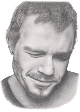 Portrait of famous actor Heath Ledger in grey pencil