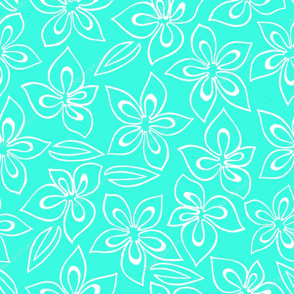 Seamless floral pattern with white abstract flowers painted on a turquoise background