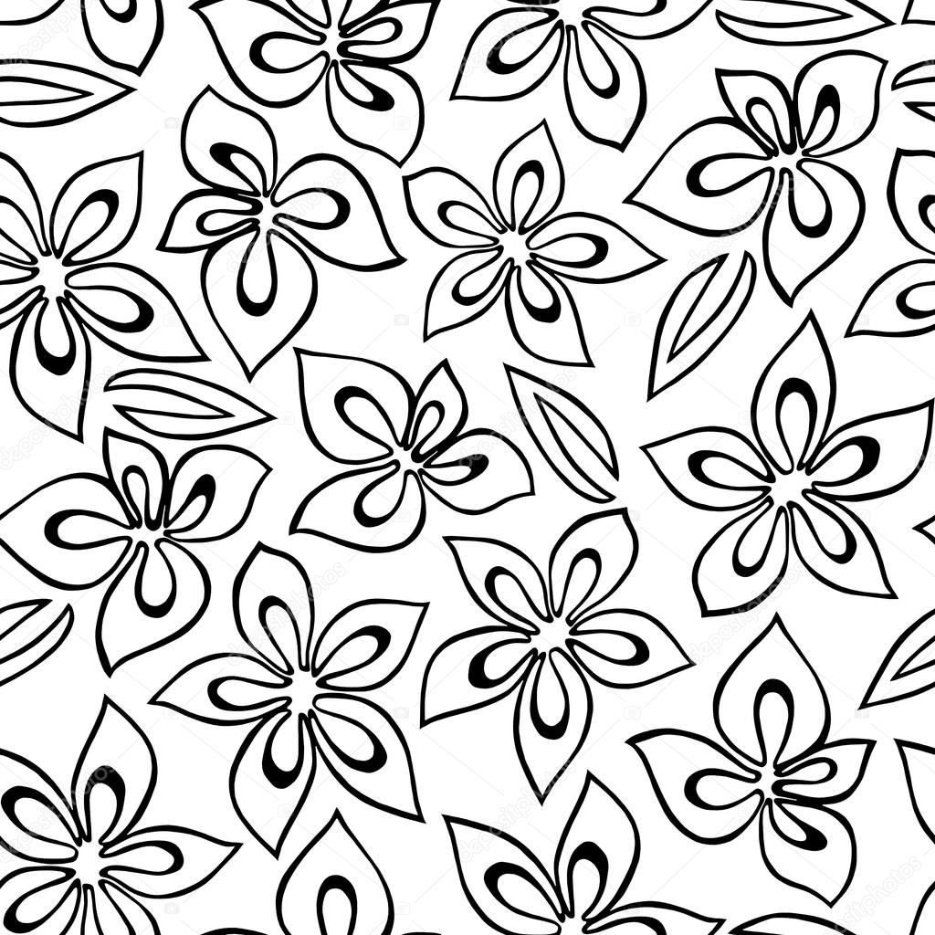Seamless floral pattern with black abstract flowers