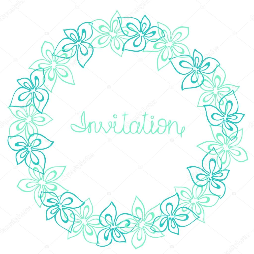 Circle frame, wreath of turquoise, blue and mint flowers on a white background, greeting card, decoration postcard or invitation