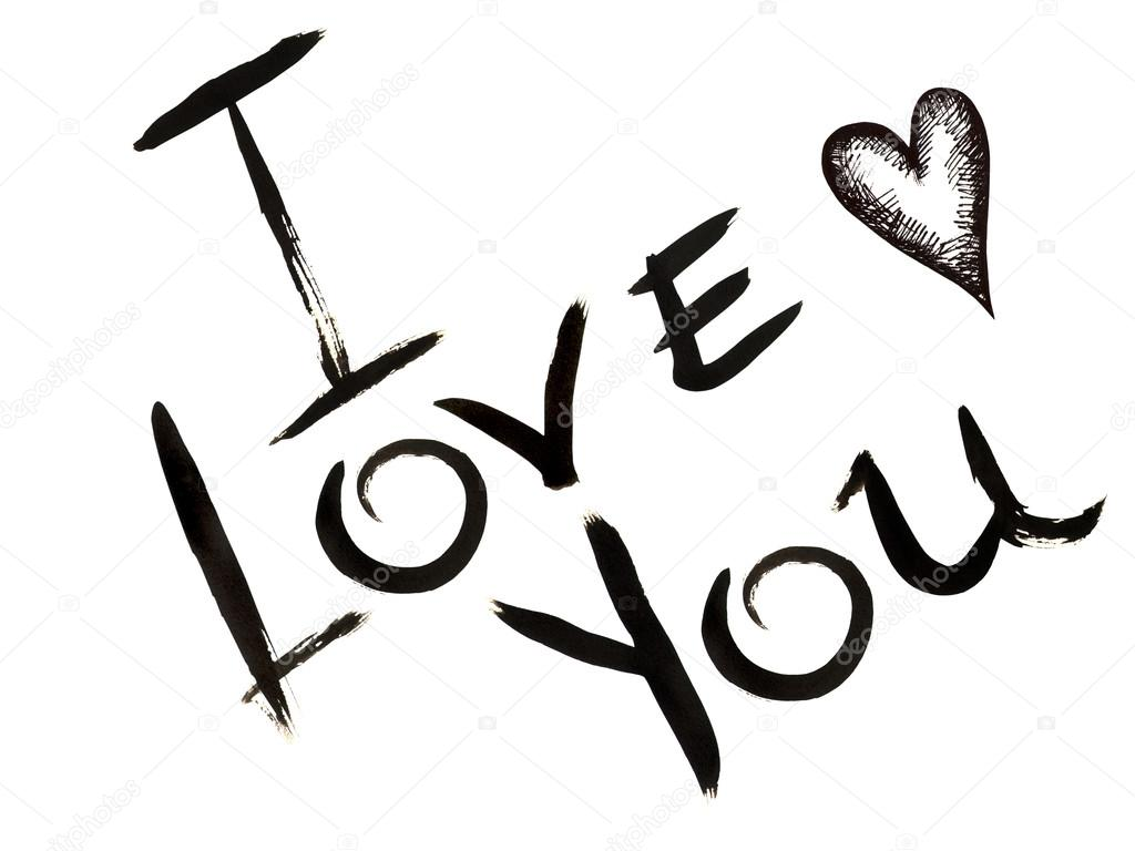 Handgetekende inscriptie i love you en kleine kern gevormd door handgetekende inscriptie i love you en kleine kern gevormd door zwarte inkt op een witte achtergrond foto van nastyasklyarova voltagebd Choice Image