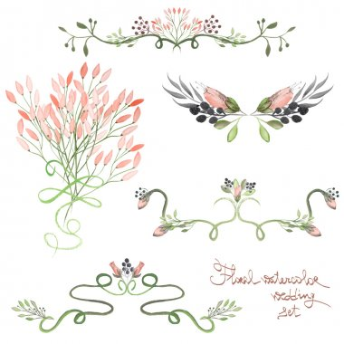 Set with frame borders, floral decorative ornaments with watercolor flowers, leaves and branches for wedding