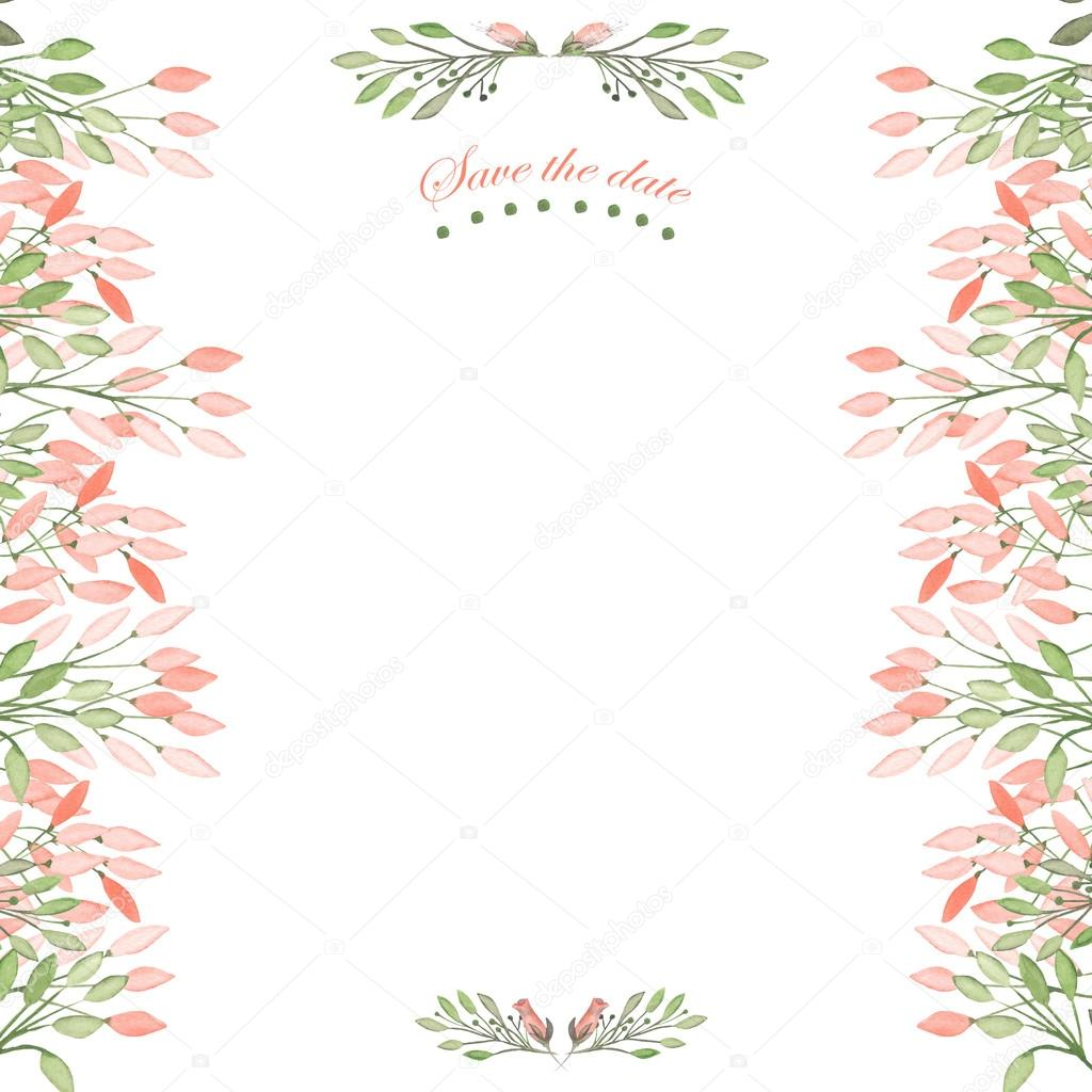 Frontera con marco, ornamento floral decorativo con acuarela flores ...