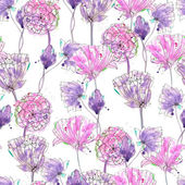 Fotografie Pattern with watercolor purple flowers