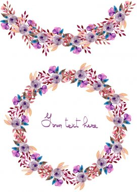 Frame border, garland and wreath of  purple flowers and branches with the violet leaves painted in watercolor  on a white background, greeting card, decoration postcard or invitation