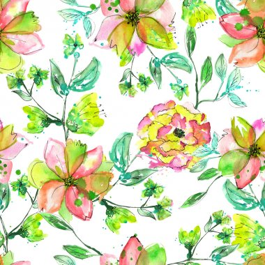 Seamless floral pattern with watercolor hand-draw yellow, pink and green flowers on the branches with green leaves