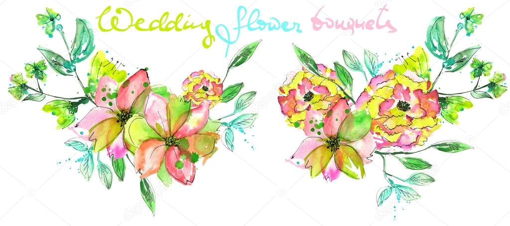 Set of watercolor bouquets with pink, yellow and green flowers and green leaves