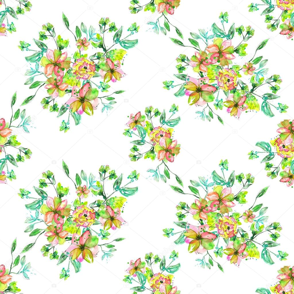 Seamless Floral Pattern With Watercolor Hand Draw Yellow Pink And