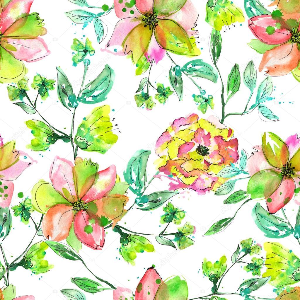 Patron Floral Transparente Con Flores Amarillas Rosa Y Verde