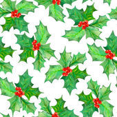 Pattern with watercolor branches with the red berries and green leaves (holly tree)