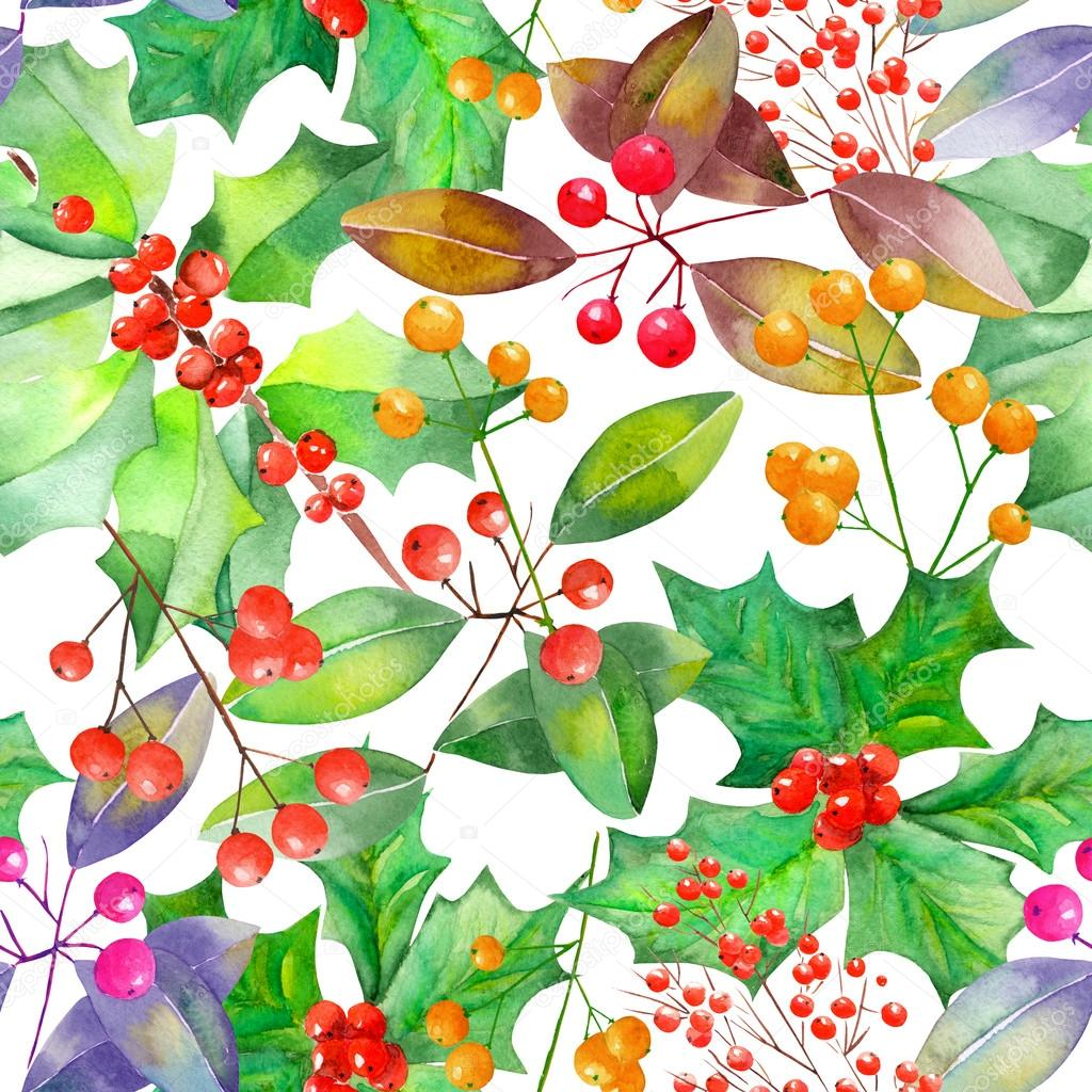 Pattern with watercolor branches with the red and orange berries and green leaves