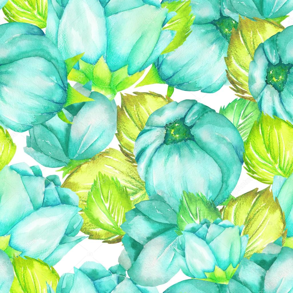 A floral pattern with the turquoise beautiful flowers painted in a floral pattern with the turquoise beautiful flowers painted in watercolor on a white background izmirmasajfo