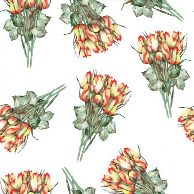 A seamless pattern with the watercolor beautiful bouquets of the red and yellow roses on a white background