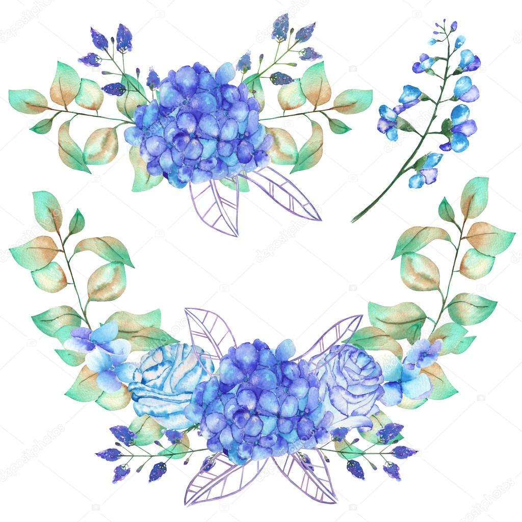A set of the watercolor bouquets with the blue Hydrangea flowers, bluebell flowers and green leaves and plants