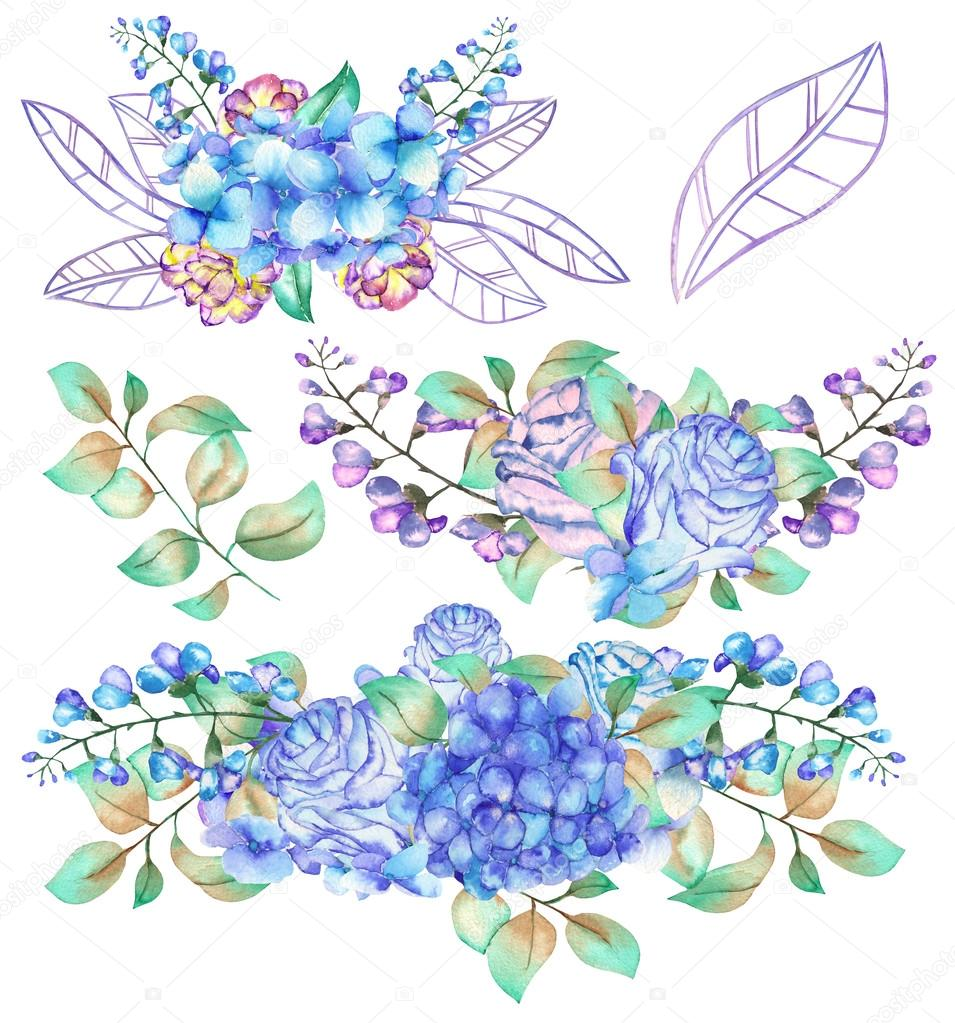 A set of the watercolor bouquets with the blue Hydrangea flowers, roses, bluebell flowers and green leaves and plants