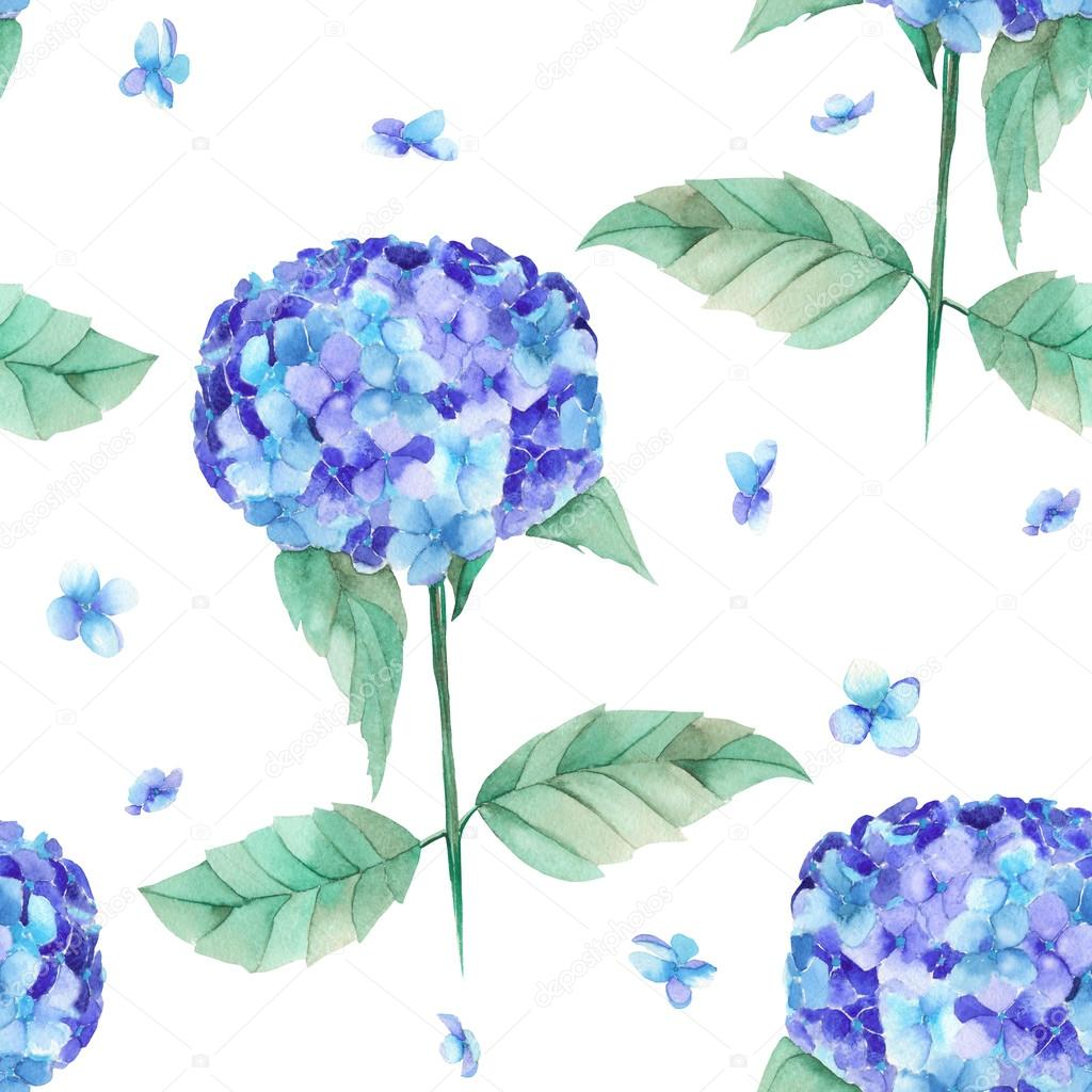 A seamless pattern of the beautiful watercolor blue Hydrangea flowers